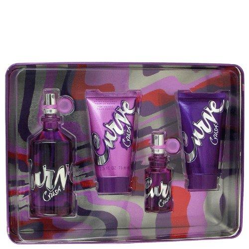 Curve Crush by Liz Claiborne Women's Gift Set -- 3.4 oz Eau De Toilette Spray + .5 oz Mini EDT Spray + 2.5 oz Body Lotion + 2.5 oz Shower (Curve Vanilla Eau De Toilette)