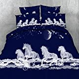 (US) Alicemall Horse Bedding White Horses Digital Printing Dark Blue 4-Piece Duvet Cover Set, Twin/ Full/ Queen/ King US Size (Queen, White)