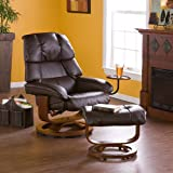 Southern Enterprises Bonded Leather Recliner and Ottoman - Cafe Brown