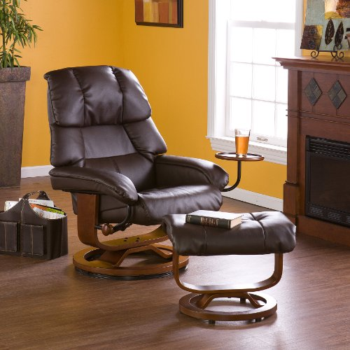 Bonded Leather Recliner and Ottoman - Café Brown (Benchmaster Recliner)