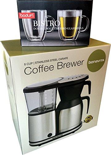Bonavita BV1900TS 8 Cup Coffee Maker With Shatterproof Steel Lined Thermal Carafe & Bodum Bistro ...