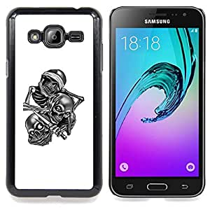 GIFT CHOICE / Teléfono Estuche protector Duro Cáscara Funda Cubierta Caso / Hard Case for Samsung Galaxy J3 GSM-J300 // Skull Gang B&W //