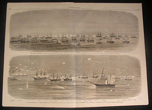 US Naval Expedition Bombardment Fort Walker 1861 antique wood engraved print