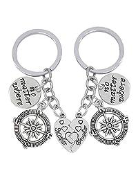2 Pcs No Matter Where Compass Broken Heart Pendant Mother Daughter Keychain Set