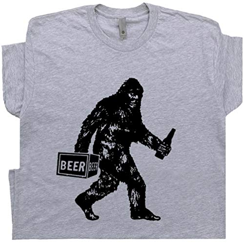 XXL - Bigfoot T Shirt Drinking Beer Funny Sasquatch Yeti Dive Bar Cool Vintage Famous Redneck Pub Tavern Men Women Gray -