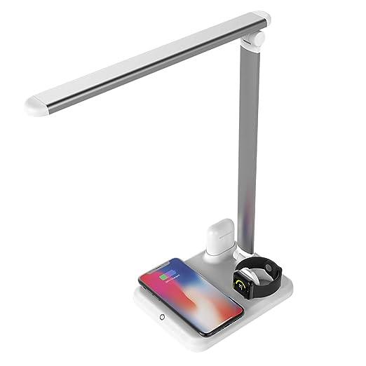 Xflelectronic Mesa Escritorio Lámpara LED Luz Qi Cargador ...