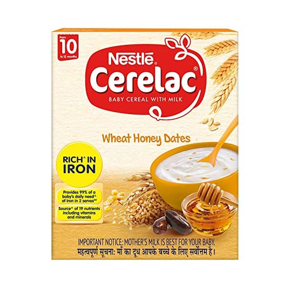 Nestle Cerelac Fortified Baby Cereal with Milk, Wheat Honey Dates