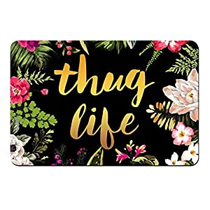 "Thug Life Flowers Doormat Entrance Mat Floor Mat Rug Indoor/Outdoor/Front Door/Bathroom Mats Rubber Non Slip (30""x18"",45cmx75cm)"