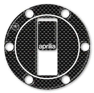 ADESIVI-STICKERS in RESINA 3D CARBONIO PROTEZIONE TAPPO SERBATOIO per MOTO APRILIA Labelbike