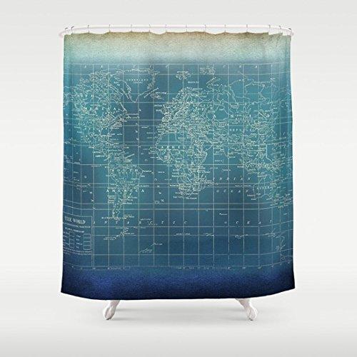Amazon Com Grunge World Map Shower Curtain Dark Teal Handmade