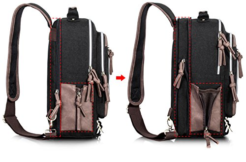Leaper Retro Messenger Bag Outdoor Cross Body Sling Bag Travel Bag Shoulder Backpack (Black3103) by Leaper (Image #5)