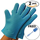 HOT STUFF Heat Resistant Silicone Oven Mitts - 2 PACK - FREE Spatula - Water Proof Gloves - Slip Resistant - Protects up to 400 Degrees Farenheit - Strong Silicone Provides Safe and Secure Grip - LIFETIME GUARANTEE (Blue)