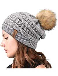 b12c3388bfc Winter Real Fur Pom Beanie Hat Warm Oversized Chunky Cable Knit Slouch Beanie  Hats for Women