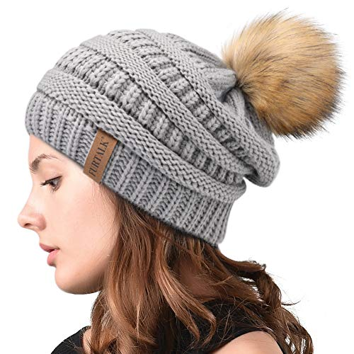 Womens Winter Slouchy Knit Beanie Chunky Faux Fur Pom Poms Hat Bobble Hat Ski Cap ()