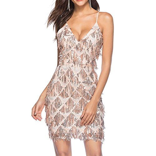 Classical City Womens Sexy V Neck Sequin Dress Backless Spaghetti Strap Sleeveless Tassel Dress(Champagne,L)