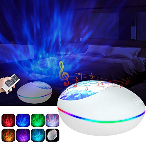 [Newest] Ocean Wave Projector, Night Light Projector with 12 LED & 7 Lighting Modes Remote Control Timer Bluetooth Music Speaker Sound Machine for Kids Adult Bedroom Living Room Party Decoration (Christmas Projector Panoramic)