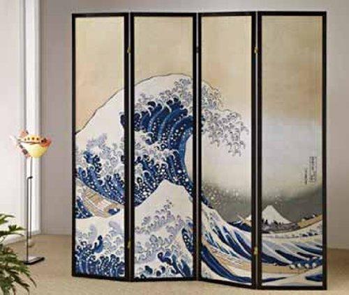 The Great Wave-hokusai Shoji-screen 4 Panel #AD 51451 ()