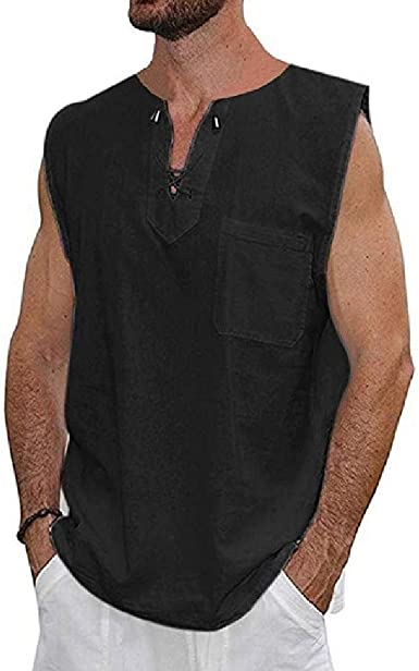 Camisa chaleco hombre con cordones Negro Negro (M: Amazon.es ...