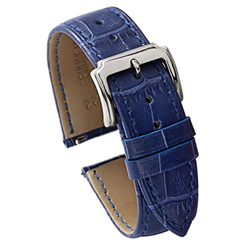 Blue Leather Strap - Carty 22mm Leather Watch Band Quick Release - Genuine Calfskin Replacement Leather Watch Strap for Men - Blue