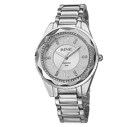 August Steiner Women's Diamond Watch - 12 Genuine Diamond and Arabic Numeral Hour Markers On A Bracelet Watch - AS8122
