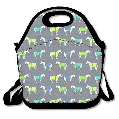 Horse Cooler Rugs - UKZAKOU Horse Rugs Color Lunch Bag Handbag Tote with Shoulder Strap Cooler Warm Pouch for Kids School Camping Travel
