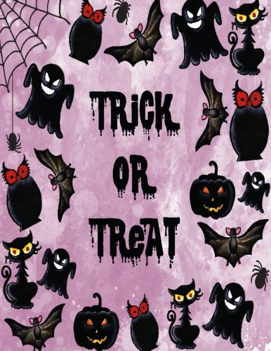 Trick or treat: Trick or treat  in halloween night on purple cover (8.5 x 11)  inches 110 pages, Blank Unlined Paper for Sketching, Drawing , Whiting ... night -