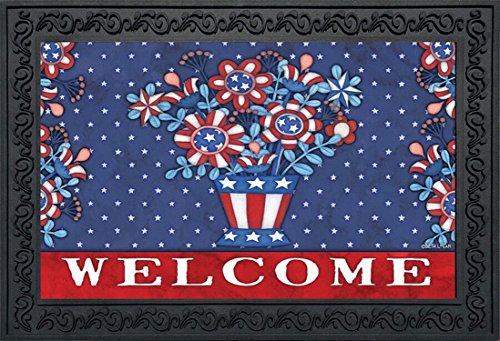 Briarwood Lane Patriotic Planter Welcome Doormat Indoor Outdoor Floral 4th of July 18