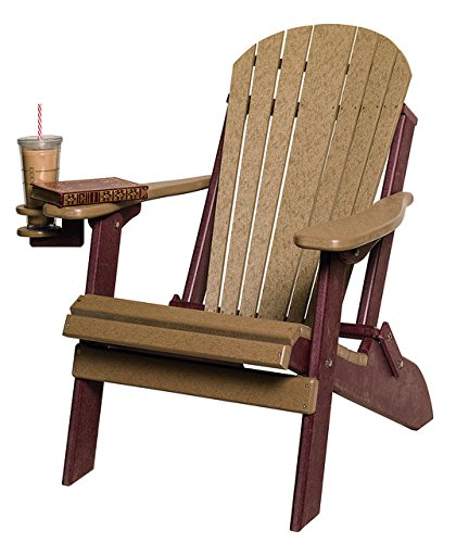 Poly Lumber Folding Adirondack Chair in Cedar & Brown - Amish Made in USA by Furniture Barn USA