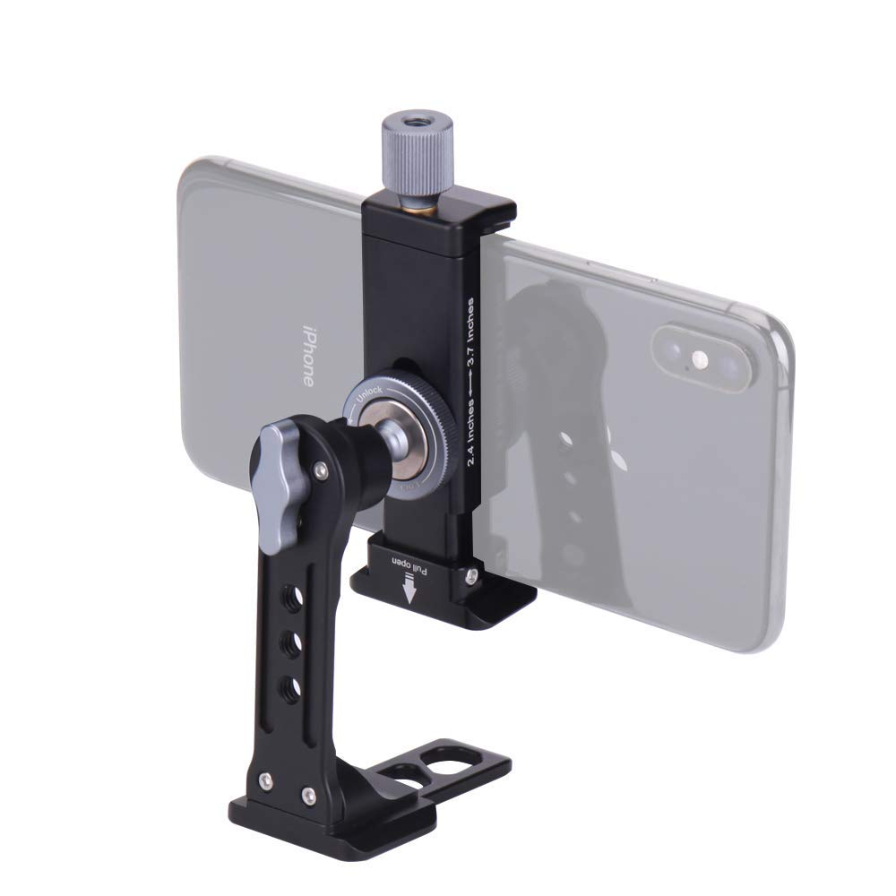 FotoBetter Cell Phone Tripod Mount with Remote, Unimount 360 Rotation Smartphone Adapter Holder with Cold Shoe Mount and Arca-Style Quick Release Plate, Universal Metal Phone Tripod Holder Clip Adapte by FotoBetter