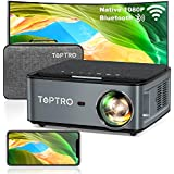 TOPTRO Bluetooth WiFi Projector with Carrying Case 7500L Native 1080P Portable Projector Support 4D Keystone/Zoom/4K Home Theater Projector Compatible with Phone/TV Stick/PC/USB/PS4/DVD