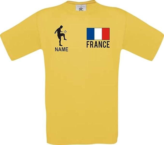 Shirtstown Camiseta De Niño Camiseta de Fútbol Francia Francia con SU Nombre Deseado Estampado - Amarillo