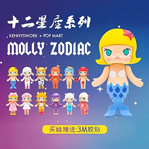 Kennyswork Hong Kong Designer Toys POP MART Molly Zodiac Constellation Series Blind Box Miniature Figures Bobble Head Collectibles Fashion Cartoon Animation Gifts Girls Kids PVC ()