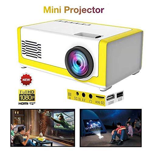 Mini Beamer unterstützt 1080P HD, Tragbar Kleiner Projektor LED Videobeamer für Geschenk von Kinder, Videofilm…