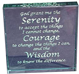 Serenity Prayer Hand Carved Etched Glass Paperweight