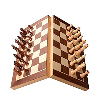 Handmade Wooden Magnetic Chess Set Travel Chess Board Game with Felted Interiors