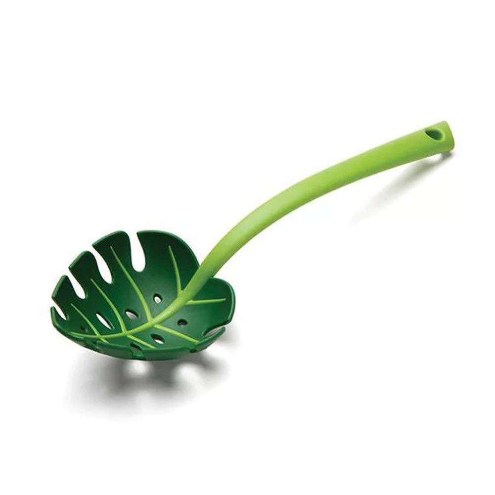 omufipw Abtropfsieb mit langem Griff, kreativ, Blattform, verdicktes Küchensieb 30 cm grün