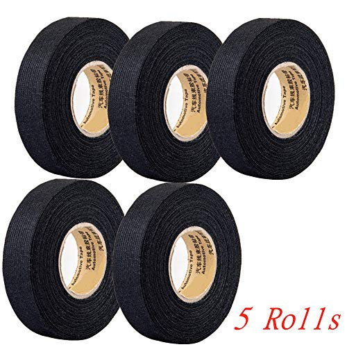5 Rolls Wire Loom Harness Tape, Wiring Harness Cloth Tape, Wiring Loom Harness Adhesive Cloth Fabric Tap, Adhesive Fabric Tape for Automobile ,Wire harnessing Noise Damping Heat Proof(15 mm x 15 m)