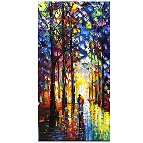 Fasdi-ART Oil Painting Landscape Flower 3D Hand-Painted On Canvas Abstract Artwork Art Wood Inside Framed Hanging Wall Decoration Abstract Painting (DF019, ()