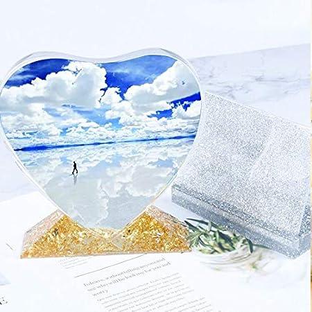 DIYBravo 2 piezas Molde de Resina de Marco de Fotos Rect/ángulo y Coraz/ón Moldes de Silicona Moldes Epoxi Resin Molds para DIY Artesan/ía Decoraciones 2 Moldes