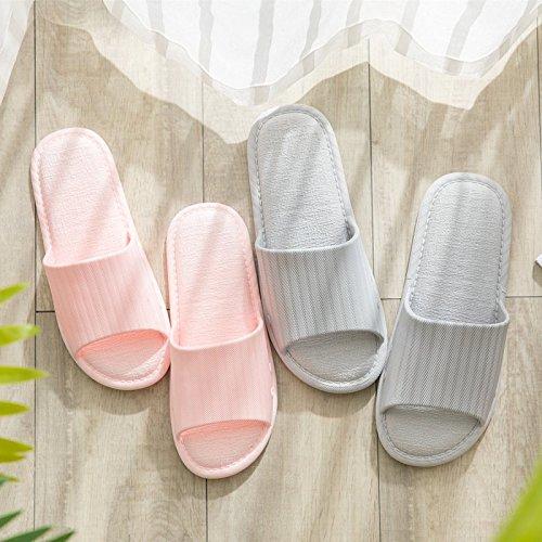 BAOZIV587 Casa all'aperto pantofole Bagno estivo in stile giapponese bagno donne per uomini e donne bagno coppie antiscivolo interni casa sandali e pantofole morbido fondo sottile chiaro e semplice, 38-39 (adatto per 37-38, rosa chiaro Porpora 4beda1