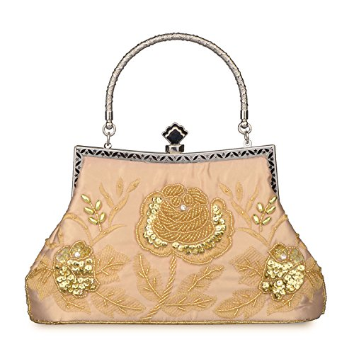 Evening Bag Purse Clutch Beaded Gold Roses Wedding Vintage Style And Sequined Women's Baglamor Party PO8n7x0w