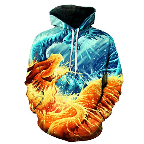 Fire and Ice Dragon Printed 3D Hoodies Sweatshirts Men Women Plus 6XL Pullover Skateboard Hip Hop As PictureLarge