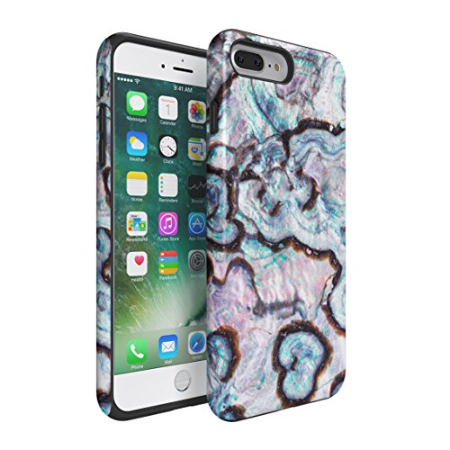 Paua Abalone Shell Marble Print Double Layer Hard PC Armor & Shock Absorbing TPU Tough Cover Shell for iPhone 7 Plus Case
