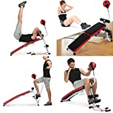 Kaluo Adjustable Weight Bench Flat Incline Abdominal Waist Exercise Fitness Workout Bench Gym Equipment with Speed Ball Dumbbell Multi-Purpose