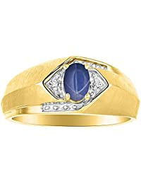 Diamond & Blue Star Sapphire Ring Sterling Silver or Yellow Gold Plated Silver Band
