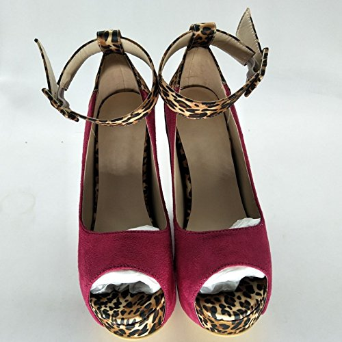 Ankle 5 Red 34 Beautiful 45 Multi Heel Sandals Shoes Wedge A Shoes Prom Strap 5 14 Cm VIVIOO Size Leopard Stitching 11 xnBP8qXPAw