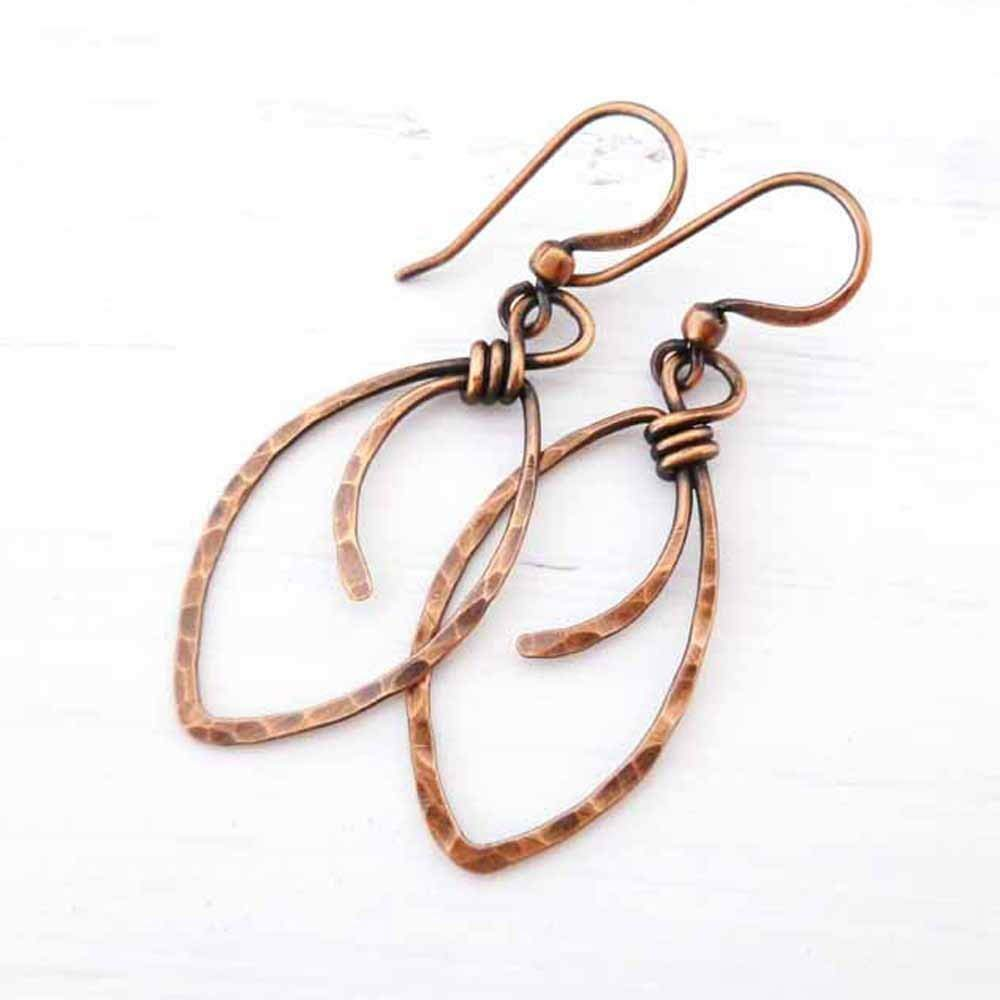 Amazon.com: Hammered Copper Earrings marquis-shape wire wrapped handmade:  Handmade