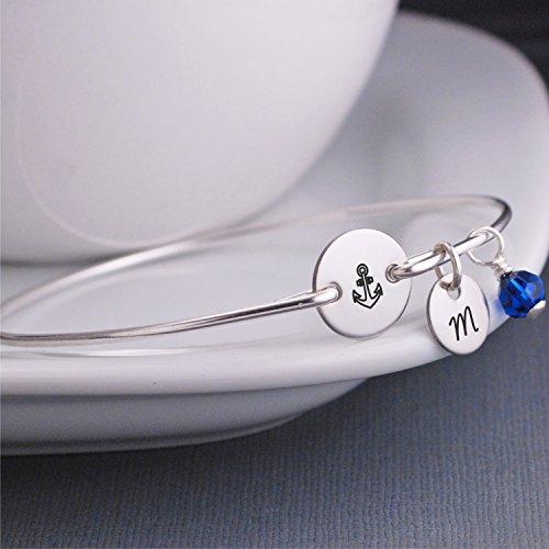 Amazon.com  Anchor Bracelet - Custom Charm Bracelet - Delta Gamma - Navy  Wife - Silver 08d868cdc80