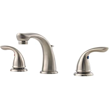 Pfister g149610k pfirst series 2 handle 8 inch widespread - 8 inch brushed nickel bathroom faucet ...