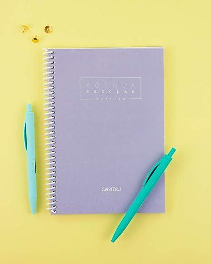 Casterli - Agenda Escolar 2019-2020 Basic Edition - Semana Vista, Tamaño A5 (Lila)